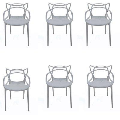 Kit 6x Cadeira Design Alegra Master Philippe Starck Cinza Claro Polipropileno Cozinhas Aviv Fratini
