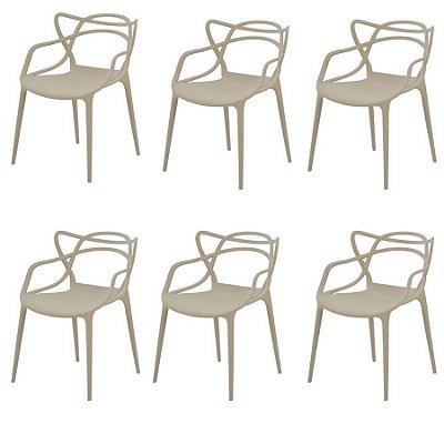 Kit 6x Cadeira Design Alegra Master Philippe Starck Fendi Polipropileno Cozinhas Aviv Fratini