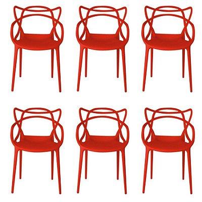 Kit 6x Cadeira Design Alegra Master Philippe Starck Vermelha Polipropileno Cozinhas Aviv Fratini