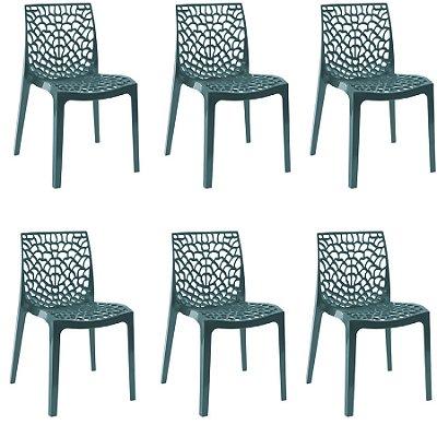 Kit 6x Cadeira Design Azul Petroleo Vermelho Externa e Interna Cozinhas Salas Restaurantes Fratini
