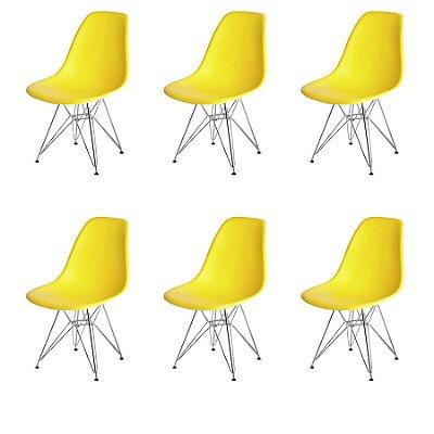 Kit 6x Cadeira Design Eames Eiffel DAR Ray Pes Ferro Salas Florida Amarela Assento Polipropileno Fratini