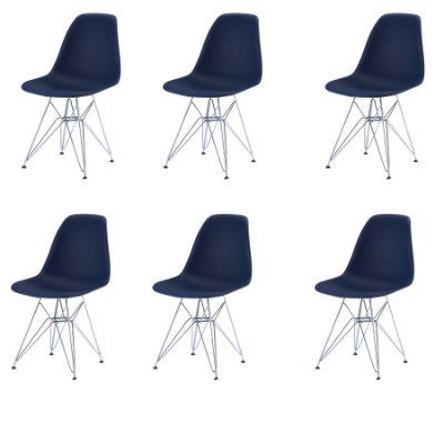 Kit 6x Cadeira Design Eames Eiffel DAR Ray Pes Ferro Salas Florida Azul Marinho Assento Polipropileno Fratini