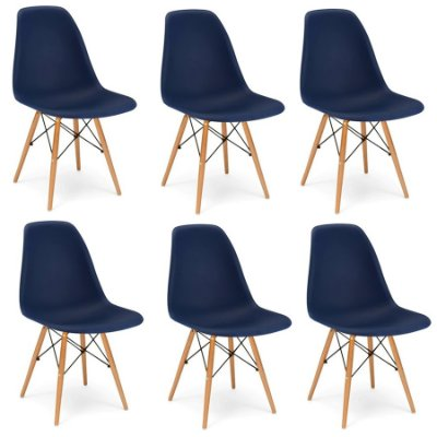 Kit 6x Cadeira Design Eames Eiffel DAR Ray Pes Madeira Salas Florida Azul Marinho Assento Polipropileno Fratini