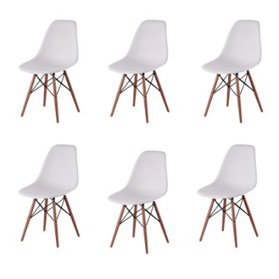 Kit 6x Cadeira Design Eames Eiffel DAR Ray Pes Madeira Salas Florida Branca Assento Polipropileno Fratini