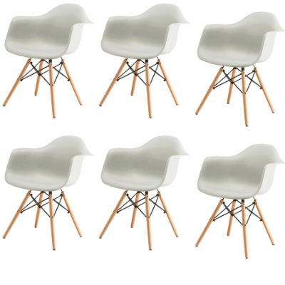 Kit 6x Cadeira Design Eames Eiffel DAR Ray Pes Madeira Salas Florida Branca Braços Polipropileno Fratini