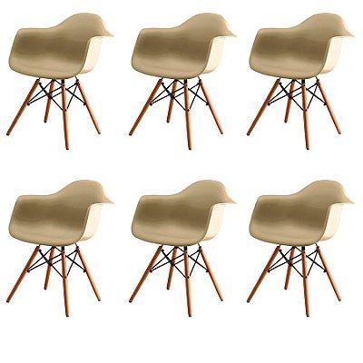 Kit 6x Cadeira Design Eames Eiffel DAR Ray Pes Madeira Salas Florida Fendi Braços Polipropileno Fratini