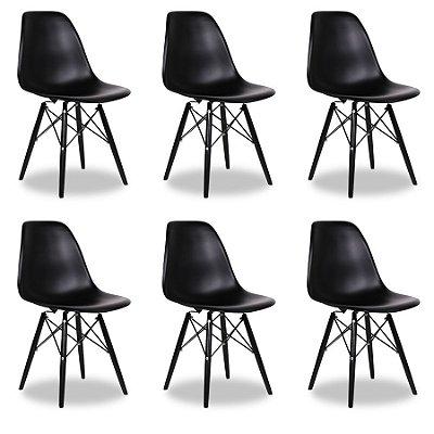 Kit 6x Cadeira Design Eames Eiffel DAR Ray Pes Madeira Salas Florida Preta Assento Polipropileno Fratini