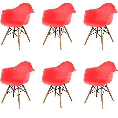 Kit 6x Cadeira Design Eames Eiffel DAR Ray Pes Madeira Salas Florida Vermelha Braços Polipropileno Fratini