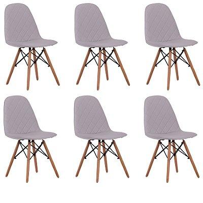 Kit 6x Cadeira Design Eames Eiffel DAR Ray Pes Madeira Salas Gelo Assento Couro Nice Fratini