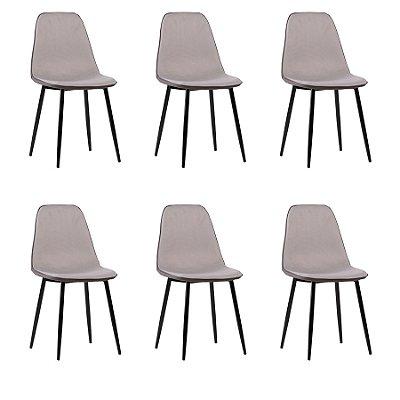 Kit 6x Cadeira Design Eames Eiffel DAR Ray Pes Madeira Salas Lyon Cinza Assento Polipropileno Fratini