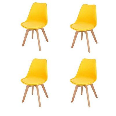 Kit 6x Cadeira Design Eames Eiffel DAR Ray Pes Madeira Salas Siena Amarela Assento Couro Fratini