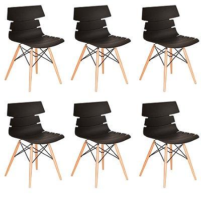 Kit 6x Cadeira Design Eames Eiffel DAR Ray Pes Madeira Salas Valencia Preto Assento Polipropileno Fratini