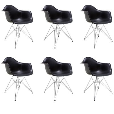 Kit 6x Cadeira Design Eames Eiffel DAR Ray Pes Metal Salas Florida Preto Braços Polipropileno Fratini