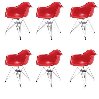 Kit 6x Cadeira Design Eames Eiffel DAR Ray Pes Metal Salas Florida Vermelha Braços Polipropileno Fratini