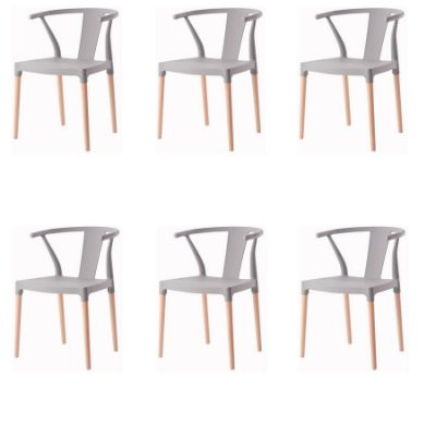 Kit 6x Cadeira Design Eiffel Eames Madeira Base Assento Polipropileno Redondo Bares Restaurantes Cinza Amsterdam Fratini