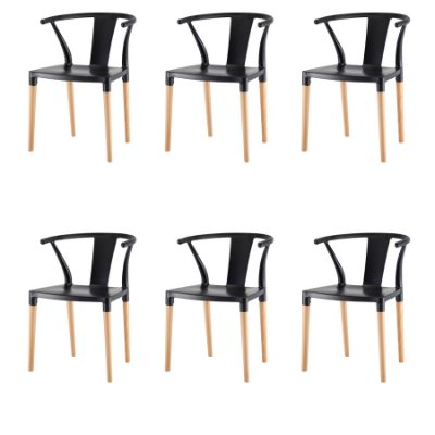 Kit 6x Cadeira Design Eiffel Eames Madeira Base Assento Polipropileno Redondo Bares Restaurantes Preta Amsterdam Fratini