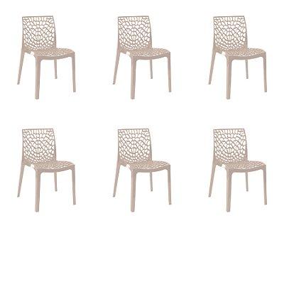 Kit 6x Cadeira Design Fendi Vermelho Externa e Interna Cozinhas Salas Restaurantes Fratini