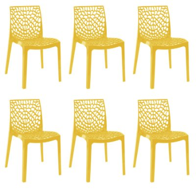 Kit 6x Cadeira Design Gruvier Amarelo Externa e Interna Cozinhas Salas Restaurantes Fratini