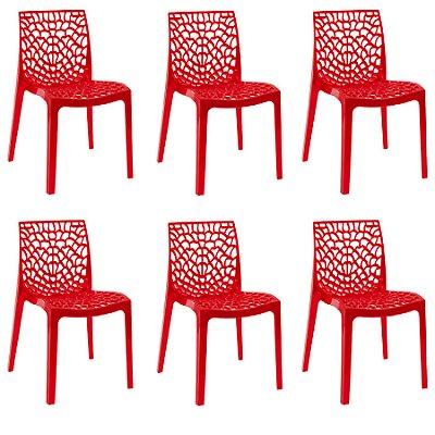 Kit 6x Cadeira Design Gruvier Vermelho Externa e Interna Cozinhas Salas Restaurantes Fratini
