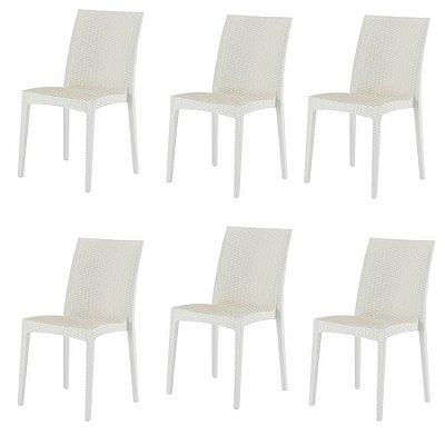 Kit 6x Cadeira Design Ibiza Marfim Externa e Interna Cozinhas Tramas tipo Rattan Varandas Salas Fratini