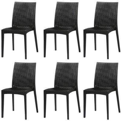 Kit 6x Cadeira Design Ibiza Preta Externa e Interna Tramas tipo Rattan Cozinhas Varandas Salas Fratini