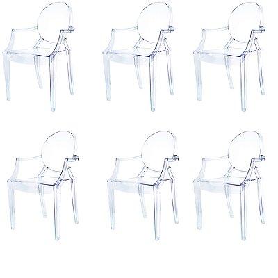 Kit 6x Cadeira Design Louis Ghost Transparente Incolor Com Braços Moderna Cozinhas Salas Jantar Versalhes Fratini