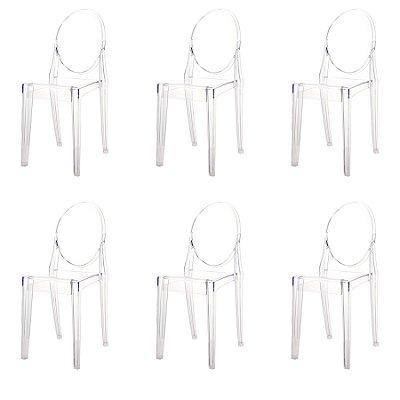 Kit 6x Cadeira Design Louis Ghost Transparente Incolor Moderna Cozinhas Salas Jantar Viena Fratini