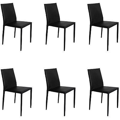 Kit 6x Cadeira Design Quadrada Preto Assento Estofado Tecido Couro Moderna Cozinhas Salas Zurique Fratini