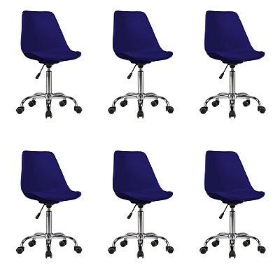 Kit 6x Cadeira Design Saarinen Office Eames Eiffel Rodizio Azul Marinho Quartos Chicago Fratini