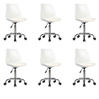 Kit 6x Cadeira Design Saarinen Office Eames Eiffel Rodizio Branco Quartos Chicago Fratini