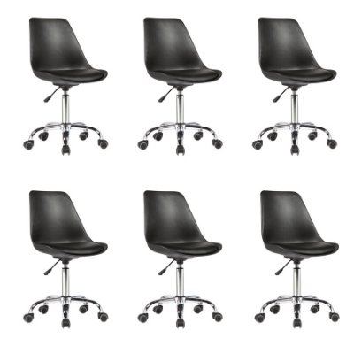 Kit 6x Cadeira Design Saarinen Office Eames Eiffel Rodizio Preto Quartos Chicago Fratini