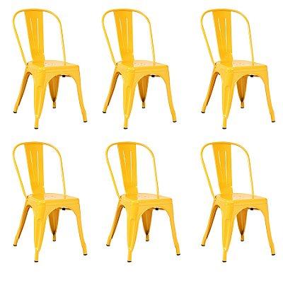 Kit 6x Cadeira Design Tolix Iron Francesinha Xavier Pauchard Amarelo Cozinhas Berlin Fratini