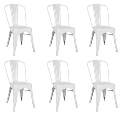 Kit 6x Cadeira Design Tolix Iron Francesinha Xavier Pauchard Branca Cozinhas Berlin Fratini