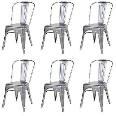 Kit 6x Cadeira Design Tolix Iron Francesinha Xavier Pauchard Prata Natural Cozinhas Berlin Fratini