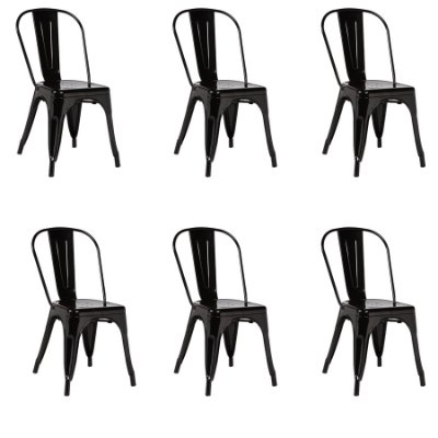 Kit 6x Cadeira Design Tolix Iron Francesinha Xavier Pauchard Preto Cozinhas Berlin Fratini