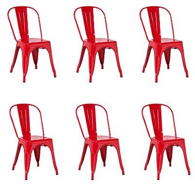 Kit 6x Cadeira Design Tolix Iron Francesinha Xavier Pauchard Vermelho Cozinhas Berlin Fratini