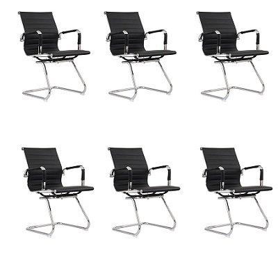 Kit 6x Cadeira Escritorio Fratini Office Rodizio Eames Manhattan Preto Cromado Fixa Diretor Com Braços
