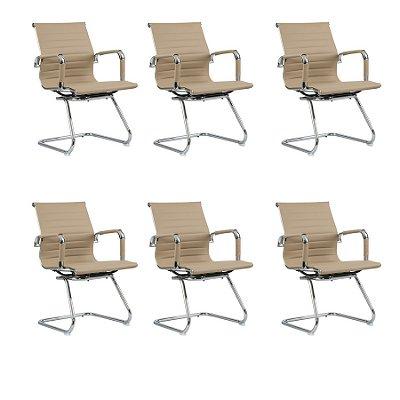 Kit 6x Cadeira Escritorio Fratini Office Rodizio Manhattan Eames Fendi Cromado Fixa Diretor Com Braços
