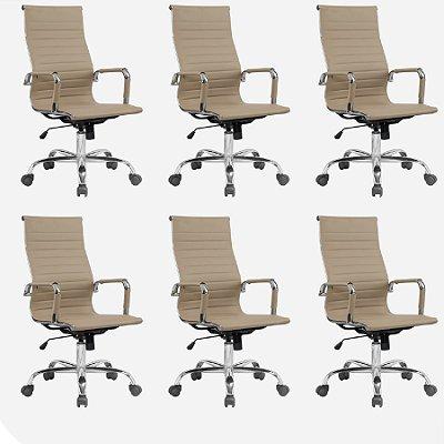 Kit 6x Cadeira Escritorio Fratini Office Rodizio Manhattan Eames Fendi Cromado Giratoria Presidente Com Braços