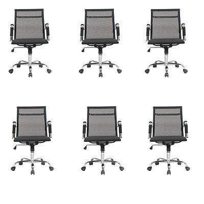 Kit 6x Cadeira Escritorio Fratini Office Rodizio Sidney Eames Preto Cromado Giratoria Presidente Com Braços