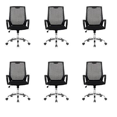 Kit 6x Cadeira Escritorio Fratini Office Rodizio Singapura Eames Preto Cromado Giratoria Presidente Com Braços