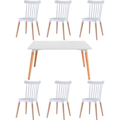 Kit 6x Cadeira Mesa Fratini Design 6 lugares Classica Windsor Madeira Natural Restaurantes Salas Gourmet Roma Branco