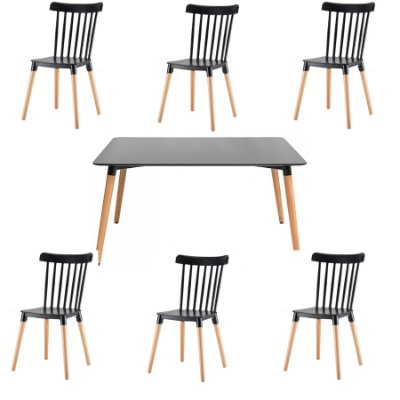 Kit 6x Cadeira Mesa Fratini Design 6 lugares Classica Windsor Madeira Natural Restaurantes Salas Gourmet Roma Preto