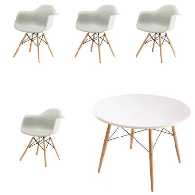 Kit 6x Cadeira Mesa Fratini Design Eames Eiffel DAR Ray Pes Madeira Natural Salas Florida Branca Braços Polipropileno