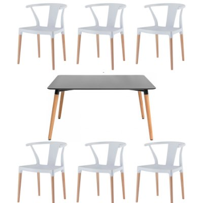 Kit 6x Cadeira Mesa Fratini Design Eiffel Eames Madeira Natural Assento Polipropileno Salas Branco Preto Amsterdam
