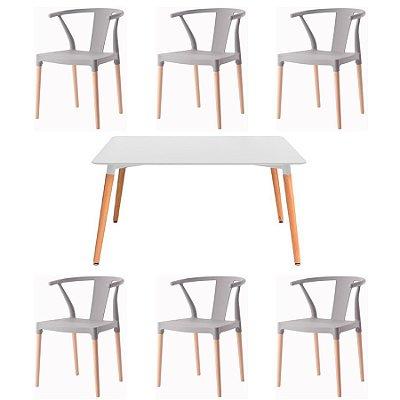 Kit 6x Cadeira Mesa Fratini Design Eiffel Eames Madeira Natural Assento Polipropileno Salas Cinza Branco Amsterdam