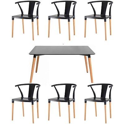 Kit 6x Cadeira Mesa Fratini Design Eiffel Eames Madeira Natural Assento Polipropileno Salas Preto Branco Amsterdam