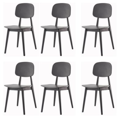 Kit 6x Cadeira Resistente Fratini Preto Cozinhas Restaurantes Gourmet Varanda Bares Vegas