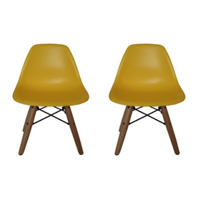 Kit Cadeira Design Eames Eiffel Kids Infantil Amarelo DAR Ray Pes Madeira Florida Assento Polipropileno Fratini