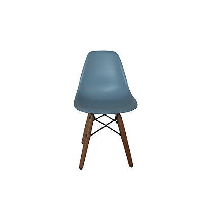 Kit Cadeira Design Eames Eiffel Kids Infantil Azul DAR Ray Pes Madeira Florida Assento Polipropileno Fratini